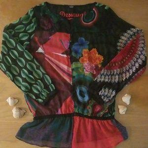 Desigual button down shear blouse with ruffle hem